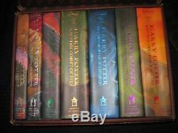 Harry Potter Hardcover complete Book Set Books 1-7 Hogwarts Trunk with stickers