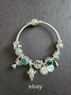 Pandora Charm Bracelet Slytherin Themed Bracelet Complete with Charms