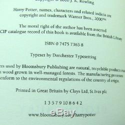 Harry Potter Uk Première Édition 1/1 Impression Adulte Complet Relié Cartonné