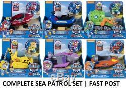 Paw Patrol Sea Patrol Set Complet De 6 Rubble Skye Chase Rocky Marshall Zuma